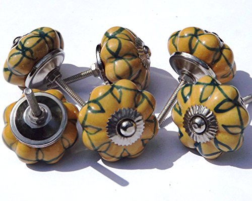 6 x Yellow flower with green design (chrome fittings) ceramic cupboard door knob drawer pull shabby chic handle porcelain
