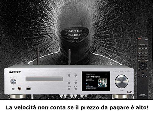 """Lettore Network audio amplificato Pioneer NC 50 DAB K/S 2 x 50 Watt (1kHz, 4 Ohm),Ingresso Phono CD player,FM radio con RDS,DAB/DAB+, tunein per digital Radio, schermo LCd da 3,5"""", DAC & SABRE per HIRES audio fino a 192 kHz/24 Bit & DSD, 11,2 Megaherz Negozio alta fedeltà Intermarket Hi-Fi Roma progettazione, vendita, installazione, assistenza tecnica di alta fedeltà, video, audio, accessori, musica liquida, DJ, Home Automation, Mobili. hifi online shop"""