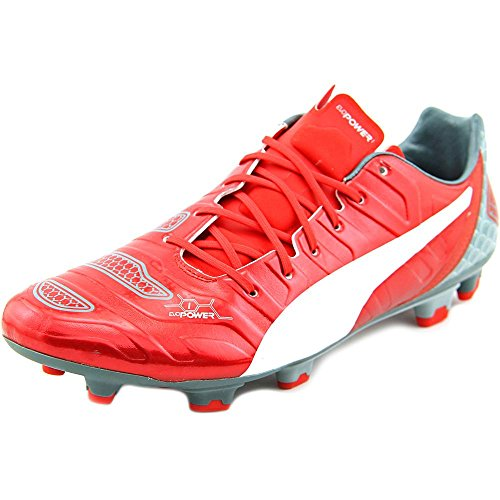 pictures of PUMA Men's Evo Power 1.2 Graphic FG Soccer Shoe, High Risk Red/White/Sea Pine, 12 M US