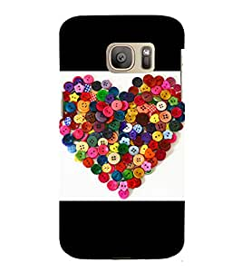 printtech Colored Button Hearts Back Case Cover for Samsung Galaxy S7 edge / Samsung Galaxy S7 edge Duos with dual-SIM card slots