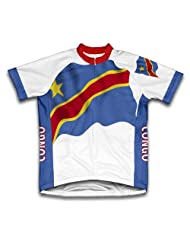Congo Flag Short Sleeve Cycling Jersey for Women