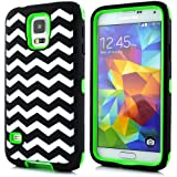 Sean® Chevron Waves Pattern Hybrid Protective Case with Combo Defender Shockproof Function for Samsung Galaxy S5 I9600 (Green)