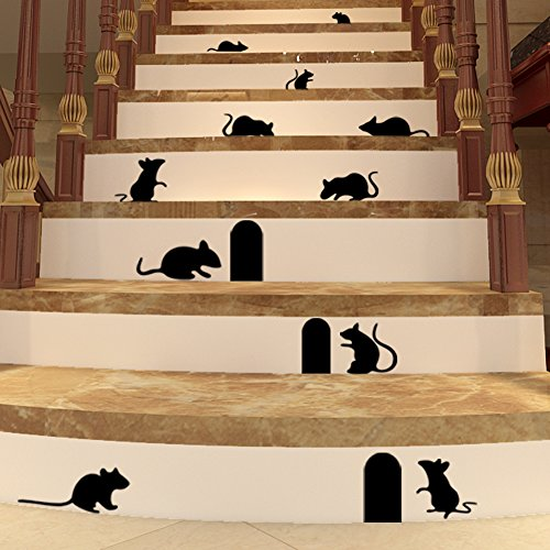 Top-Me Set of 10 black mice (rats) with entry hole Halloween vinyl decal - TM705
