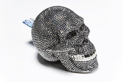 32021 Spardose Skull Crystal, silver