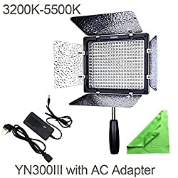 YONGNUO YN300 III YN-300 III LED Camera Video Light with 5500k Color Temperature and Adjustable brightness for Canon Nikon Pentax Olympas Samsung Cameras