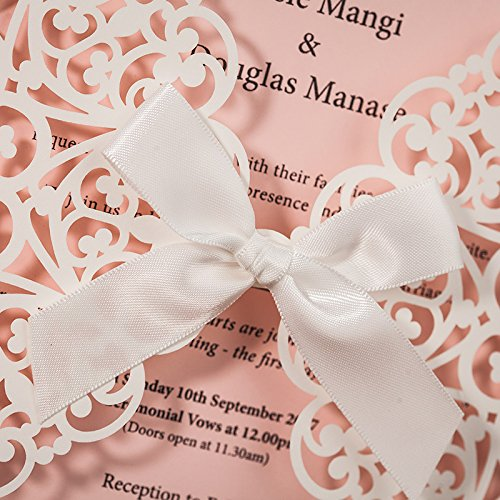 JOFANZA 50x White Square Laser Cut Wedding Invitations Cards with Bow Lace Sleeve Invitations for Engagement Baby Shower Birthday Quinceanera (set of 50pcs) CW6177 4