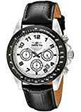 Invicta Men's 10708 Speedway Chronograph Silver Dial Black Leather Watch