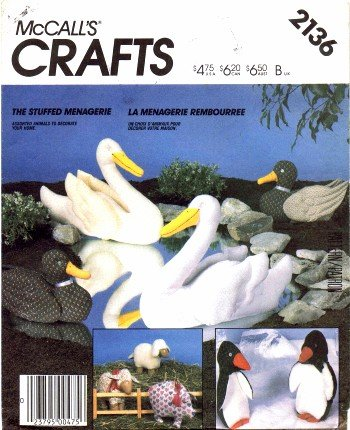 McCall's 2136 Sewing Pattern Penguin Lamb Swan Duck Pig Stuffed Animals
