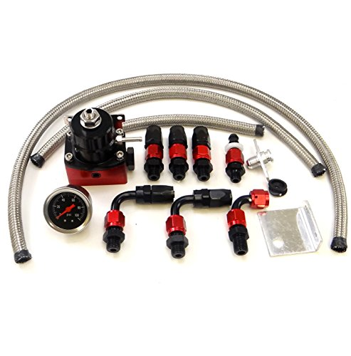 Universal Adjustable EFI Aluminum Fuel Pressure Regulator Kit w/ + 160 psi Gauge AN6 -6AN Fuel Line Hose Fittings Black & Red (Regulator Fuel Universal compare prices)