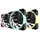 AZZA Hurricane RGB LITE, 3x120mm RGB Fans w/RF Controller -Black (Color: Black, Tamaño: 3-pack with RF controller (3-pin))