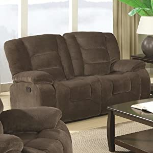 Casual Soft Brown Textured Velvet Motion Love Seat
