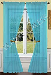 2 Piece Solid Turquoise Sheer Window Curtains/drape/panels/treatment 55\