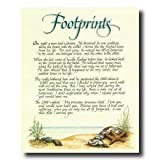 Footprints In The Sand Beach Jesus Christ Religious Picture Art Print