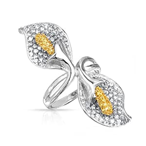 Bling Jewelry Citrine Color CZ Calla Lily Cocktail Ring Flower Statement Jewelry