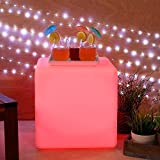 "Rechargeable Color Changing 15"" Square LED Cube Party Light with Remote"