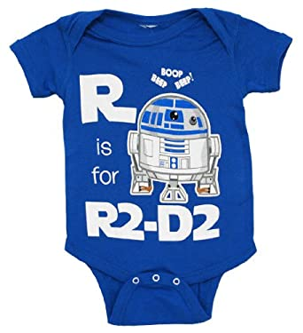Star Wars R Is For R2-D2 Mini Fine Movie Baby Creeper Romper Snapsuit Snapsuit Size: 12-18 Months