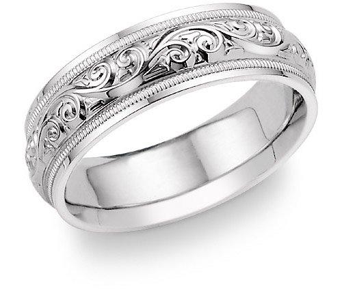 paisley design white gold wedding band ring white gold