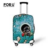 [FOR U DESIGNS]個性的な柄 伸縮素材 Spandex  スーツケース ラゲッジカバー luggage cover 旅行カバンカバー トランクカバー Mサイズ 犬6
