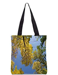 Snoogg Autumn Trees Against The Sky Designer Poly Canvas Tote Bag