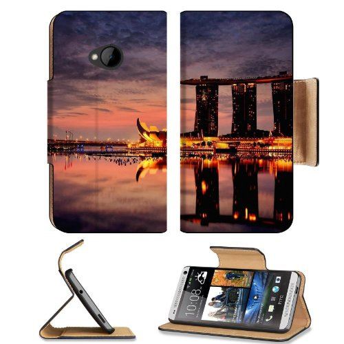 Marina Bay Sands Hotel Singapore Htc One M7 Flip Cover Case With Card Holder Customized Made To Order Support Ready Premium Deluxe Pu Leather 5 11/16 Inch (145Mm) X 2 15/16 Inch (75Mm) X 9/16 Inch (14Mm) Liil Htc One Professional Cases Accessories Open Ca front-544353