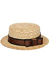Men's Boater Hat with Dark Brown Grosgrain Ribbon