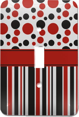 Red & Black Dots & Stripes Light Switch Cover (Single Toggle) front-830704