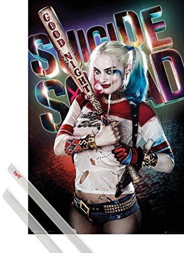 Poster + Sospensione : Suicide Squad Poster Stampa (91x61 cm) Harley Quinn Good Night e Coppia di barre porta poster trasparente 1art1®