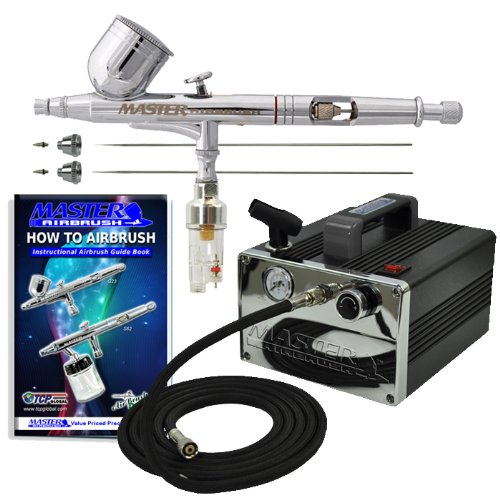 Master Airbrush® Brand Model G233 * 3 Tip & Needle PRO SET Airbrushing System with Model TC-31 Compact Professional Air Compressor, Air Hose, Moisture Trap, All with Our 1 Year Warranty and Now Includes a (FREE) How to Airbrush Training Book to Get You St