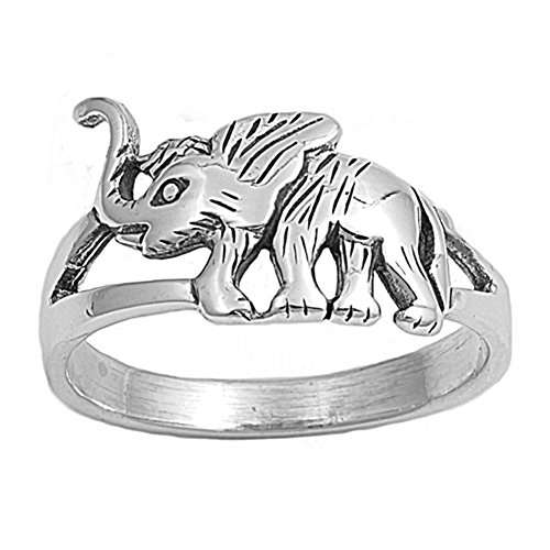 Sterling Silver Woman'S Good Luck Lucky Elephant Ring Classic Comfort Band 11Mm Size 10 Valentines Day Gift
