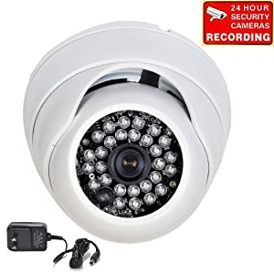 "VideoSecu Day Night Vision Built-in 1/3"" Sony Effio CCD CCTV Home Video Infrared Dome Security Camera 700TVL 28 IR LEDs Vandal Proof 3.6mm Wide View Angle Lens for DVR Surveillance System with Power Supply and Free Security Warning Decal A74"