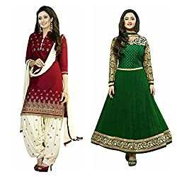 Sky Global Women's Printed Unstitched Regular Wear Salwar Suit Dress Material (Combo pack of 2)(SKY_DC_5002)(SKY_501_RED)(Dress_194_FreeSize_Green)