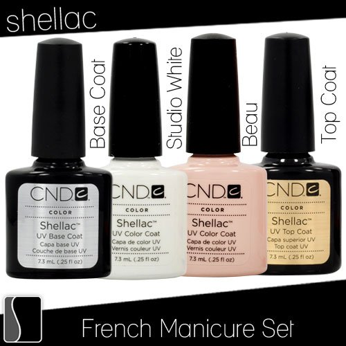 CND Shellac French Manicure Kit Base Top Coat Color White Pink Nail Polish Gel