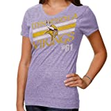 NFL Minnesota Vikings Victory Play IV Women's V-Neck T-Shirt, Purple Melange, Small