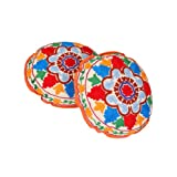 Rajrang Green, Red, Turquoise, White, Yellow Cotton Embroidered Cushion Cover Set Of 2 Pcs #Ccs06892