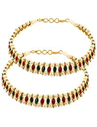 Shining Diva Gold Plated Jewellery Multi Colour Pearl Payal Anklets For Girls And Women