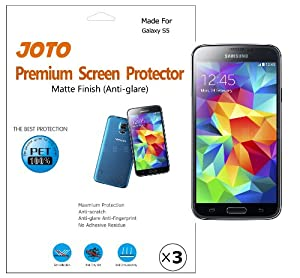 JOTO Screen Protector Film for Samsung Galaxy S5, Anti Glare, Anti Fingerprint (Matte Finish) with Lifetime Replacement Warranty, ATT, Verizon, Sprint, T-Mobile, International and Unlocked i9600 / Galaxy SV / Galaxy S V (2014) (3 Pack)