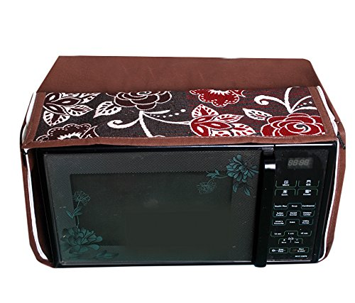 E-Retailer's Brown Flower Printed Microwave Oven Cover For 30 LTR