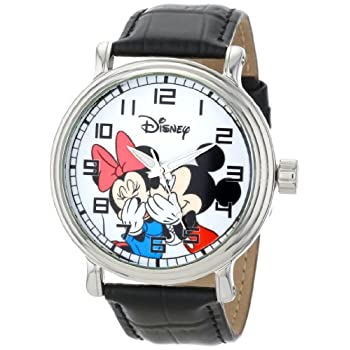 Disney Men's W000857 Vintage Mickey and Minnie Mouse Black Leather Strap Watch