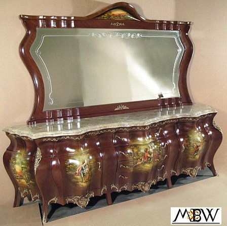 Antique Hand Painted French Style Bombe Buffet Sideboard Server w/ Mirror (Buffet Server Antique Style compare prices)