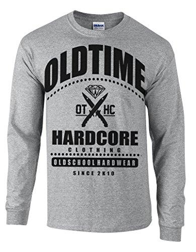 Oldtime Hardcore Clothing -  Maglia a manica lunga  - Basic - Collo a U  - Uomo Erica grigio X-Large