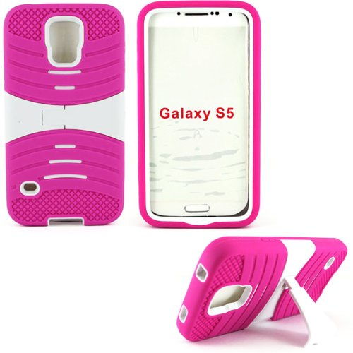 Mylife Vibrant Hot Magenta And Ultra White - Shockproof Survivor Series (Built In Kickstand + Easy Grip Ridges) 2 Piece + 2 Layer Case For New Galaxy S5 (5G) Smartphone By Samsung (Internal Flex Silicone Bumper Gel + Internal 2 Piece Rubberized Fitted Arm