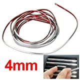 3m Silver Car Grille Exterior Chrome Styling Decoration Moulding Trim Strip 4mm thumbnail