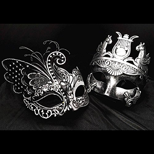 Silver / Black Flying Butterfly Women Mask & Silver Roman Warrior Men Mask Venetian Couple Masks For Masquerade / Party / Ball Prom / Mardi Gras / Wedding / Wall Decoration