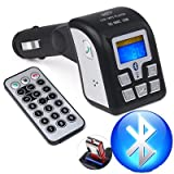 JSG Accessories® MP3 Player FM Transmitter with Bluetooth, Remote control,Audio Input Supports iPod and iPhone and ANY mobile phone, USB Slot for Flash drive, Memory SD MMC cards