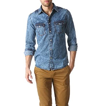Promod Chemise en jean chambray Homme Jean brut L