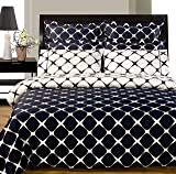 Navy & White Bloomingdale 8PC Egyptian Cotton Duvet with Sheet Set, Queen