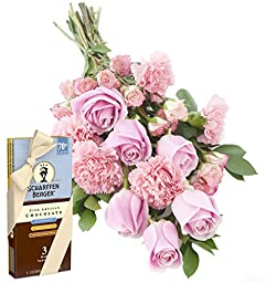 Pretty in Pink (Rose and Carnation) Bouquet and Scharffen Berger Chocolate -Without Vase