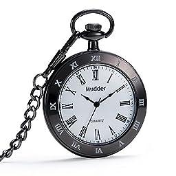 Mudder Antique Style Black Quartz Pocket Watch Chain