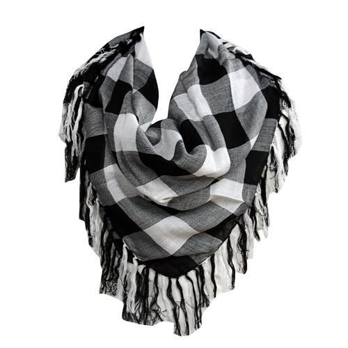 Black & White Checkered Square Scarf W/ Fringe