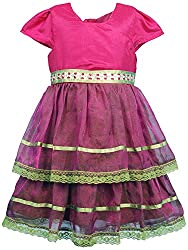 Euphoria Girls' A-line Frock (309F_3-4 Years, Pink, 3-4 Years)